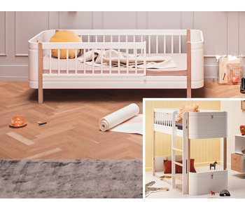 Oliver Furniture Umbau Wood Mini+ halbhohes Hochbett zum Mini+ Juniorbett weiß/Eiche