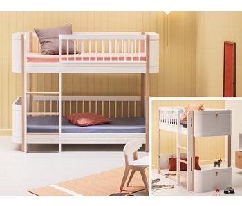 Oliver Furniture Umbau Wood Mini+ halbhohes Hochbett zum Mini+ halbhohen Etagenbett weiß/Eiche