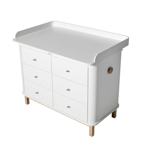 Oliver Furniture Wickelplatte Wood groß , weiß