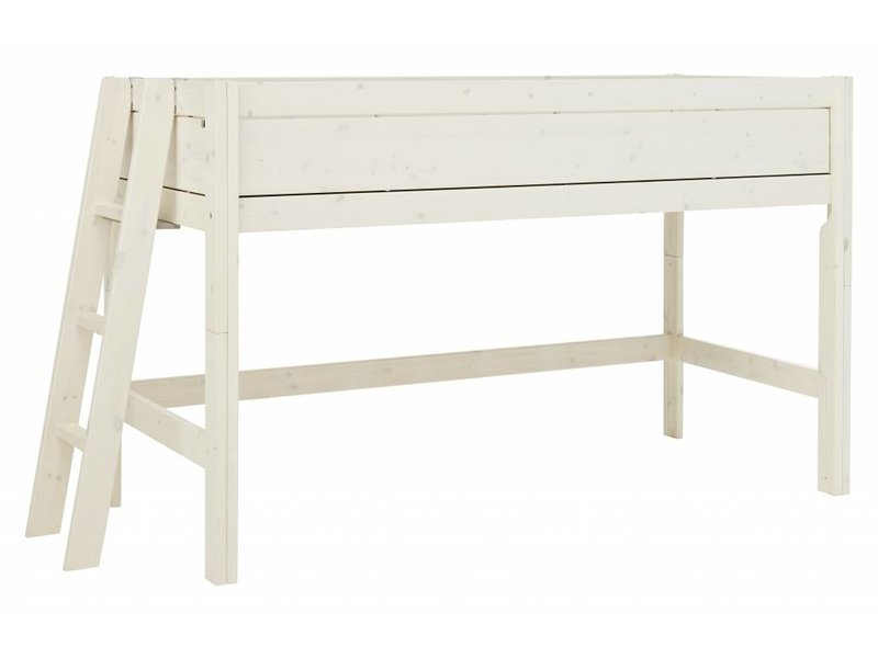 LIFETIME Half high bed 90 x 200 with four closed sides in whitewash