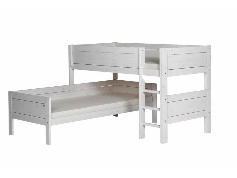 Etagenbett Ecklösung : Lifetime eck etagenbett mit gerader leiter in whitewash www.romy