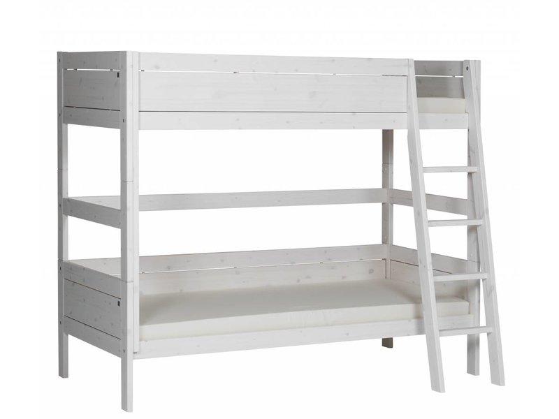 LIFETIME Etagenbett 90 x 200 mit schräger Leiter in Whitewash