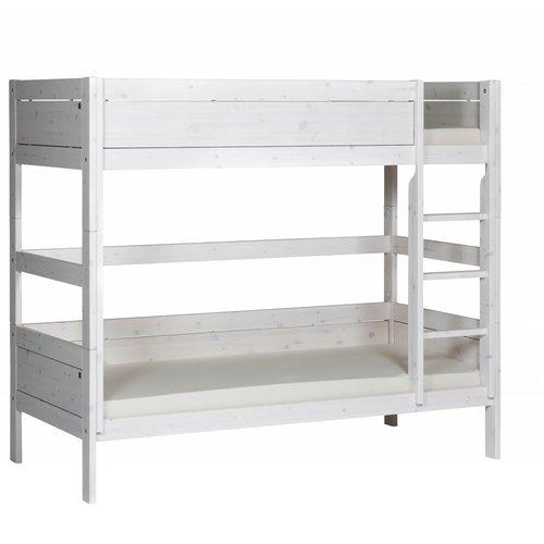LIFETIME Bunk bed 90 x 200 straight ladder in whitewash
