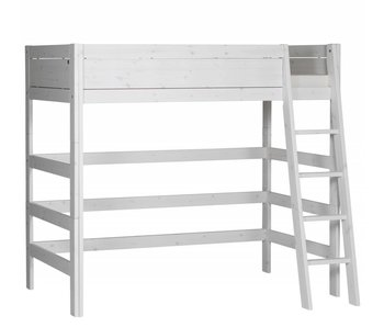 LIFETIME Loft bed slanted ladder whitewash