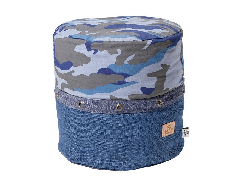 LIFETIME Rundes Sitzkissen Blue Camo