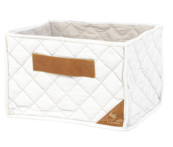 LIFETIME Quilted fabric basket white