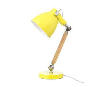 LIFETIME Tischlampe Holz gelb