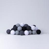Fairy lights cotton balls grey colours