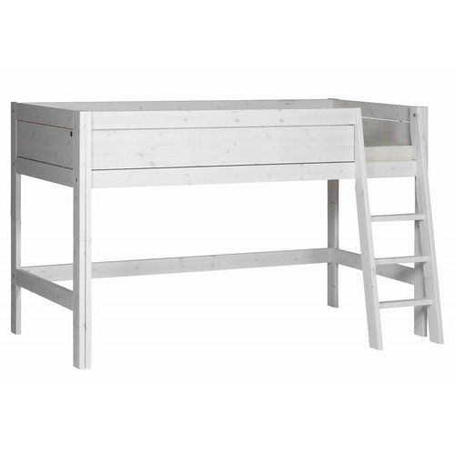 LIFETIME Half height bed 90 x 200 with slanted ladder whitewash