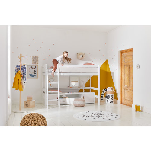 LIFETIME Low loft bed 90 x 200 with straight ladder in white