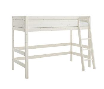 LIFETIME Low loft bed slanted ladder whitewash
