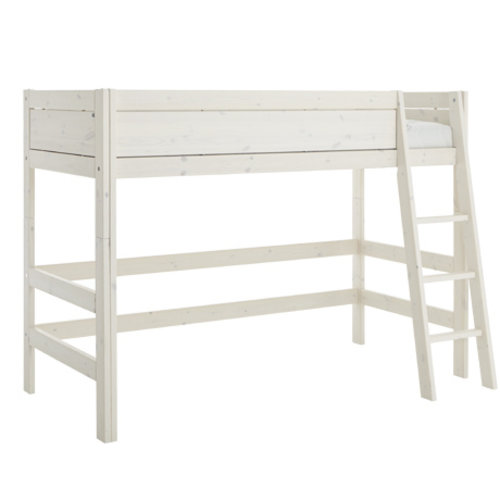 LIFETIME Low loft bed 90 x 200 with slanted ladder in whitewash