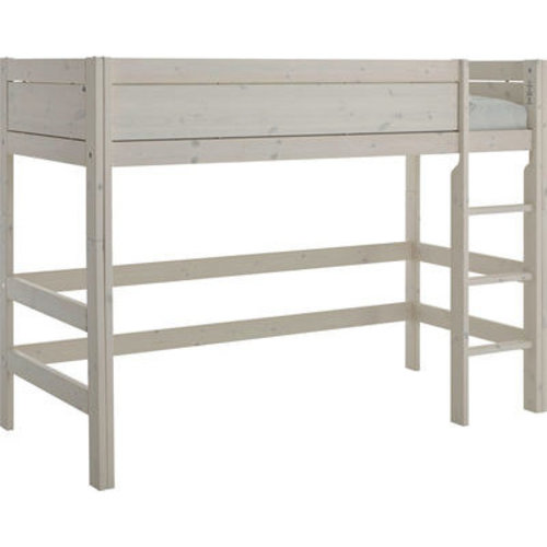 LIFETIME Low loft bed 90 x 200 with straight ladder in greywash