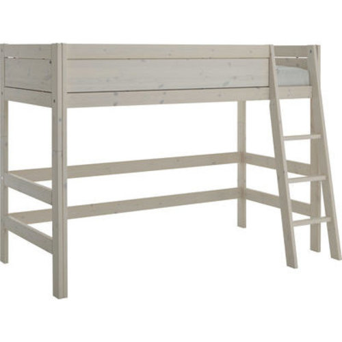 LIFETIME Low loft bed 90 x 200 with slanted ladder in greywash