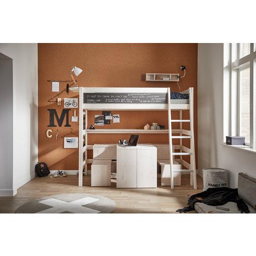LIFETIME Loft bed 90 x 200 straight ladder in whitewash