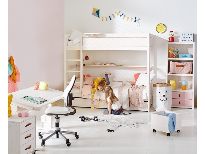 LIFETIME Bunk bed 90 x 200 straight ladder in white