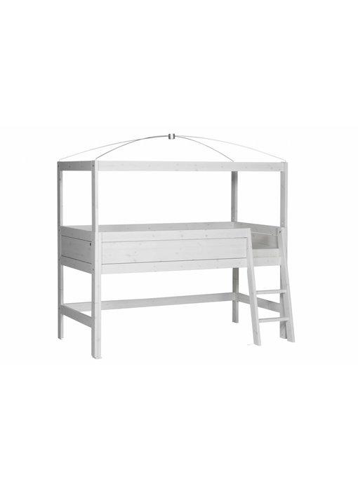 LIFETIME Minihochbett 90 x 200 mit Himmelgestell whitewash