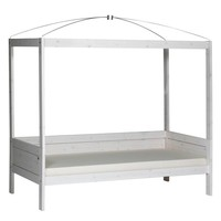 Four-poster bed 90 x 200 whitewash