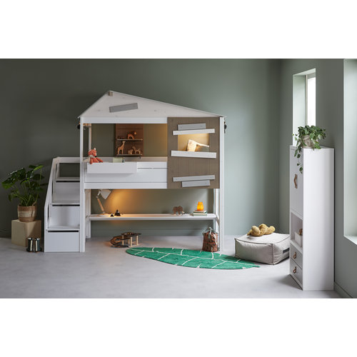 """LIFETIME Half-height cottage bed """"The Hideout"""" whitewash"""