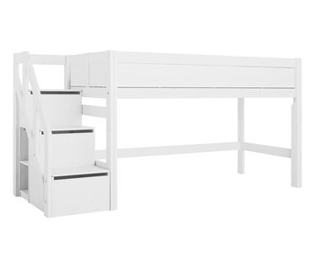 LIFETIME Half height bed with stairs white