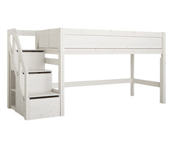 LIFETIME Half height bed with stairs whitewash