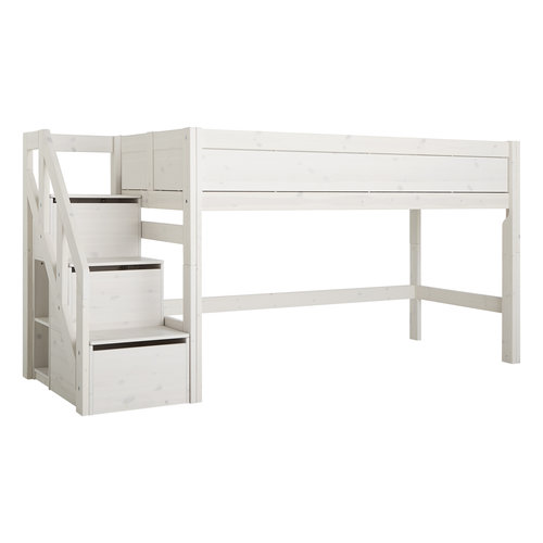 LIFETIME Half height bed with stairs in whitewash