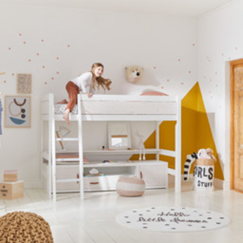 LIFETIME Low loft bed 90 x 200 with slanted ladder in white