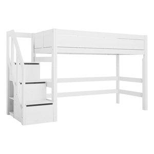 LIFETIME Mittel Hochbett mit Treppe weiß