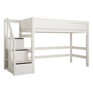 LIFETIME Low loft bed with stairladder whitewash