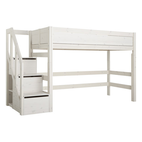 LIFETIME Low loft bed with stairladder in whitewash
