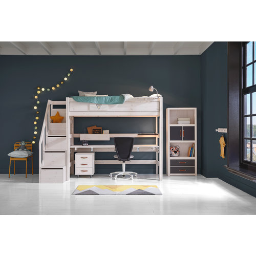 LIFETIME Loft bed with stairladder in white