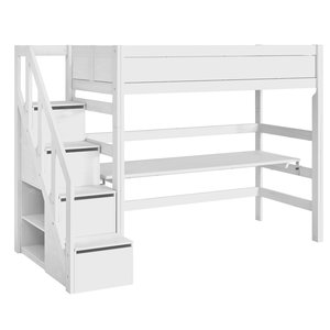 LIFETIME Loft bed with stairladder white