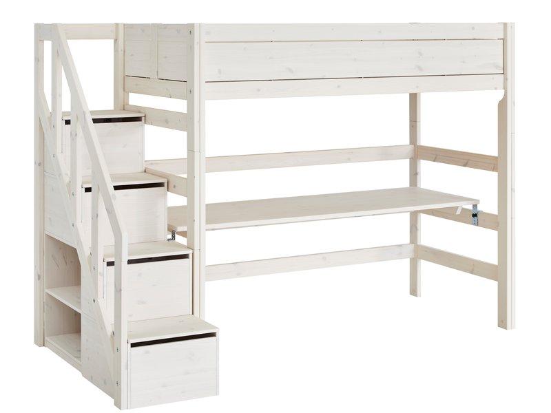 LIFETIME Hochbett mit Treppe in whitewash