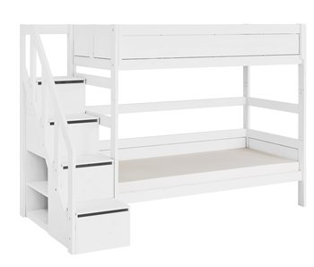 LIFETIME Bunk bed with stairladder white