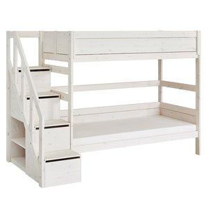LIFETIME Etagenbett mit Treppe whitewash