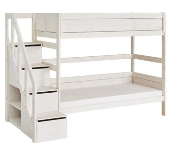 LIFETIME Bunk bed with stairladder whitewash