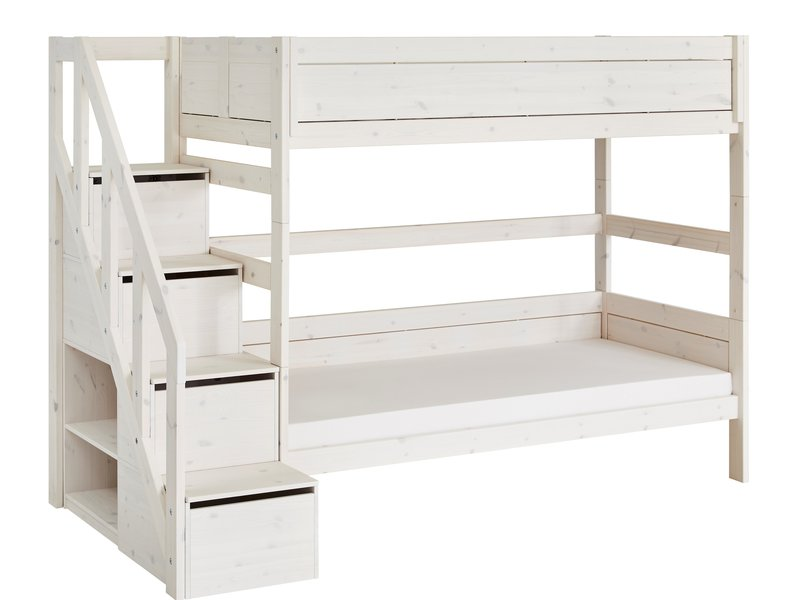LIFETIME Bunk bed with stairladder in whitewash