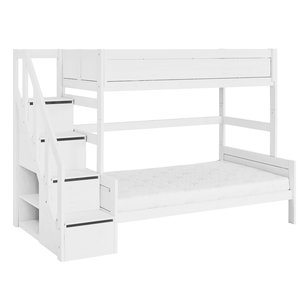 LIFETIME Bunk bed Family 90/120 with stairladder white