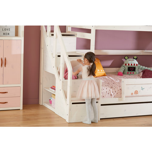 LIFETIME Bunk bed Family 90/120 with stairladder in white