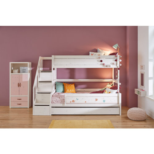 LIFETIME Bunk bed Family 90/120 with stairladder in whitewash