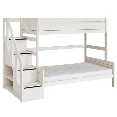 LIFETIME Bunk bed Family 90/120 with stairladder whitewash