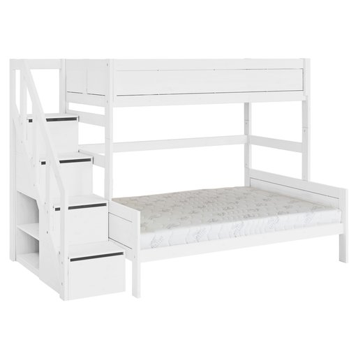 LIFETIME Bunk bed Family 90/140 with stairladder in white