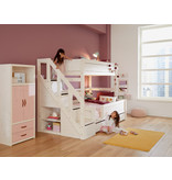 LIFETIME Bunk bed Family 90/140 with stairladder in whitewash