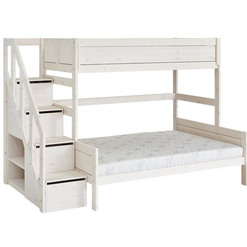 LIFETIME Bunk bed Family 90/140 with stairladder whitewash