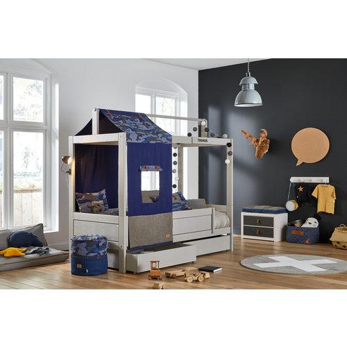 LIFETIME Basisbett mit Dachkonstruktion für Stoffdach greywash
