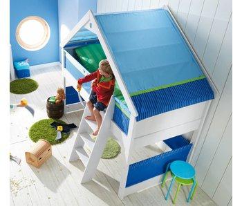 Haba Spielbett Matti mit Giebel Buche weiß - Blau