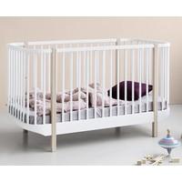 Wood cot bed, white-oak