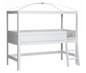 LIFETIME Minihochbett 90 x 200 mit Himmelgestell weiß