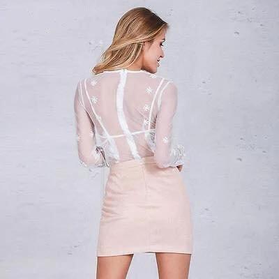 Pink Suedine Skirt