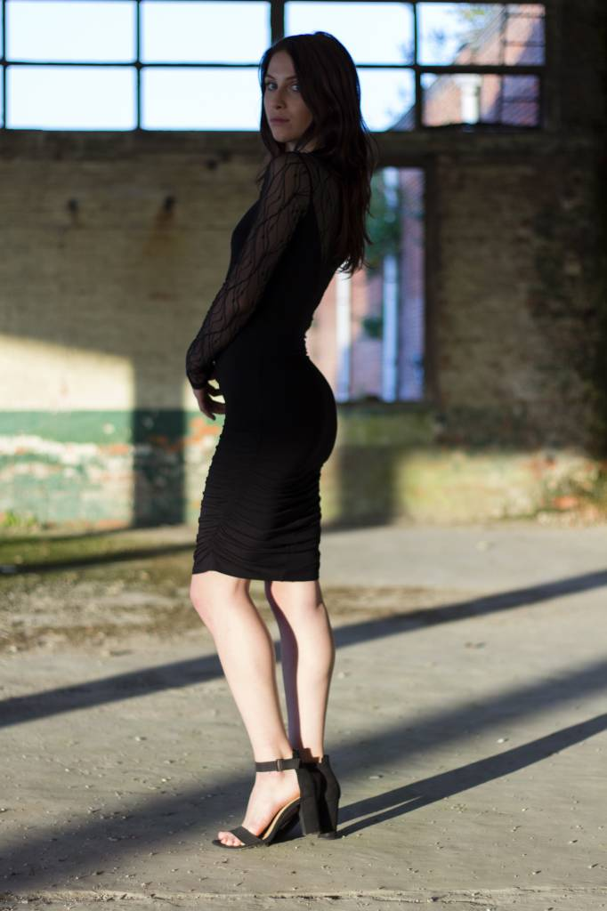 mbyM Black Bodycon Dress With Lace Detail